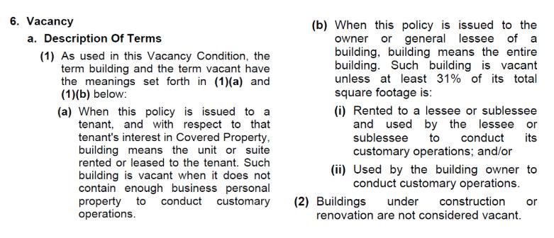 Covid 19 Shutdown Beware Of The Vacancy Provision In Your